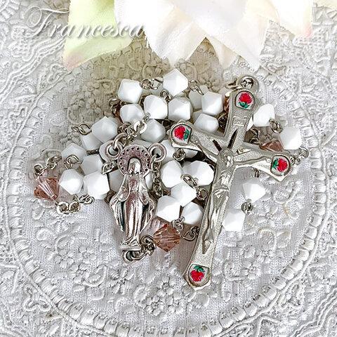 【Sale☆一点物】スワロフスキー 小さなバラのロザリオ(白)