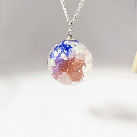 ~カラフルな空~夕焼けの青とピンクとオレンジの空と雲の球体レジンのネックレス~