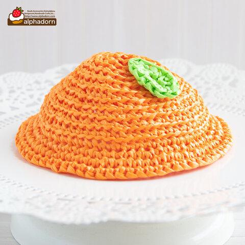 ドールのためのあみぐるみオレンジ帽子D(穴あり)