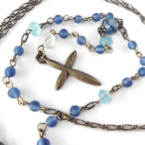 青の祈り ロザリオ風ネックレス