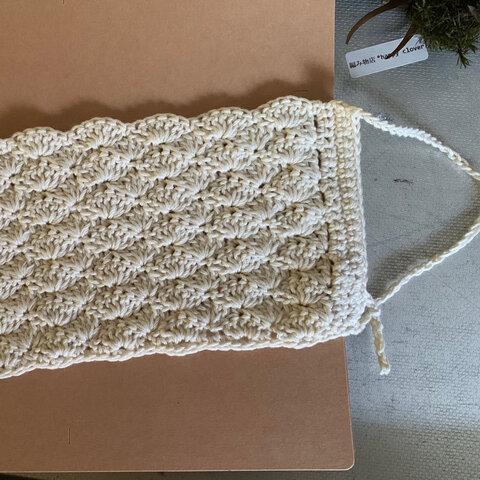 手編みマスクカバー*生成1枚 大きめ