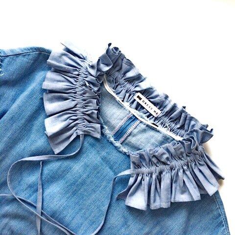 [つけ襟]たっぷりギャザーのダンガリーフリル襟