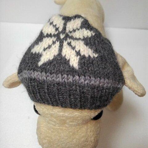 グレーに白のポインセチア柄のワンちゃん帽子(CAP-37)