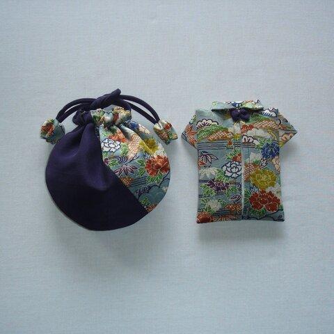 着物地で作ったミニ巾着とポケットティッシュケースのセット(送料込)