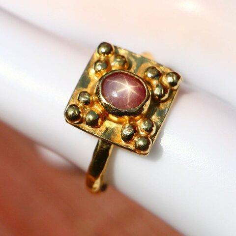 古代スタイル*天然スタールビー 指輪*9号 GP