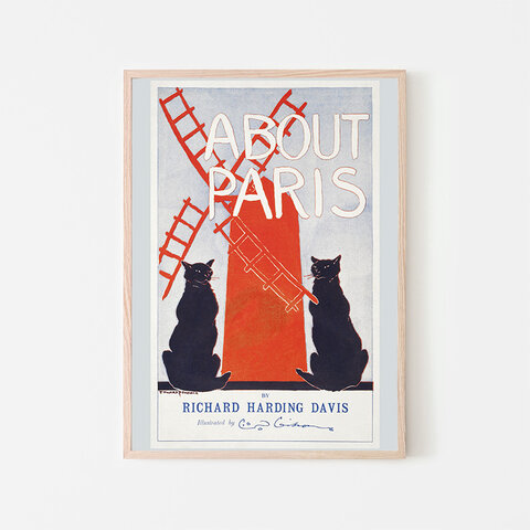 About Paris / アートポスター イラスト 2L〜 ヴィンテージポスター 黒猫 ねこ ネコ 風車 パリ