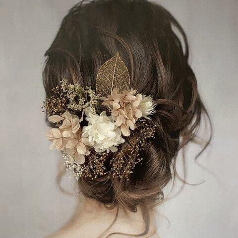 《再販》ドライフラワー ヘッドパーツ 髪飾り ヘアアクセサリー 結婚式 和装 ブライダル くすみピンク ゴールド 白 成人式