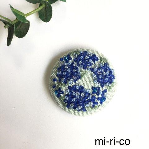 紫陽花 花刺繍 ブローチ/ヘアゴム