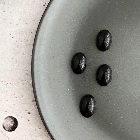 【 4 pcs 】天然石 ブラック オーバル カボション