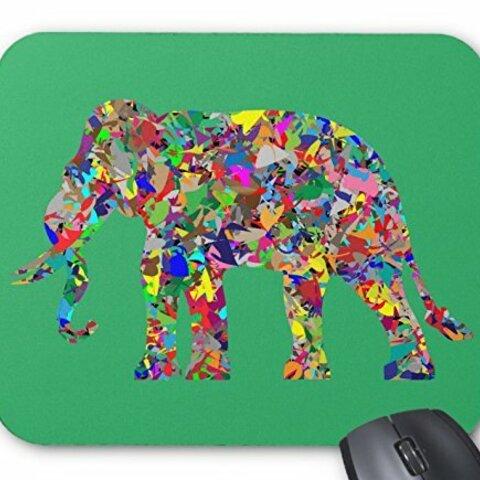 サイケデリック・エレファントのマウスパッド:フォトパッド( グッドデザインシリーズ ) (緑)