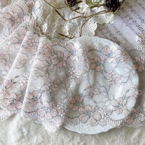 1m 広幅 美しい 花 フラワー ストレッチリバーレース  BK210934 ハンドメイド 手芸 素材 材料