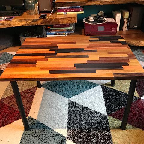 〓栄町工房〓 ミックス集成材ローテーブル 50×70×42 / 送料込み ご自身で脚取付け