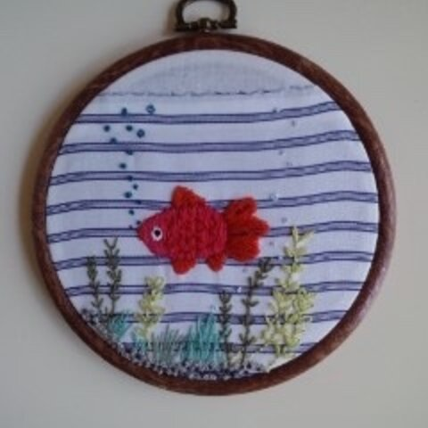 金魚/刺繍飾り フレーム付き