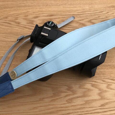 斜め掛けカメラストラップ 帆布 水色(共生地)
