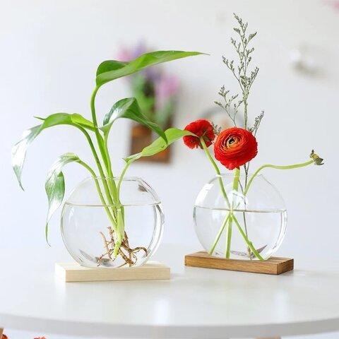 【花瓶】小さな丸いガラスのフラワーベース単品