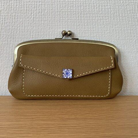 【送料無料】外ポッケが付いた、本革親子がまぐち長財布