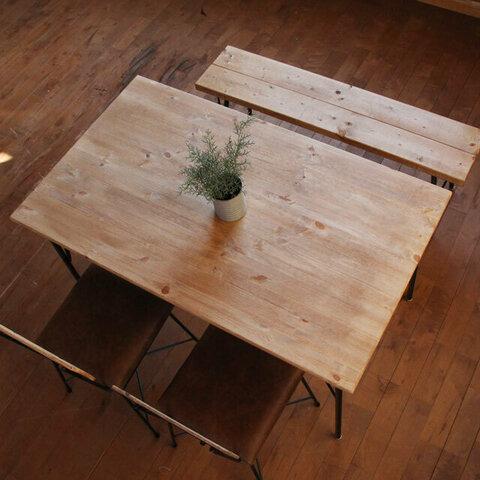 ダイニングテーブル1200x700 パインエイジング加工天板 鉄