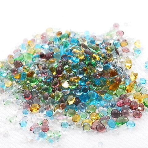 ガラスの粒 <極小キラキラmix  1~3mm> ミックスカラー 硝子の雫 レジン UVレジンパーツ 封入 硝子のかけら カレット