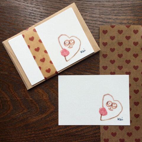 ハートの気持ち♡ほっこりかわいいKeiちゃんミニメッセージカードセット 『ハートちゃん』