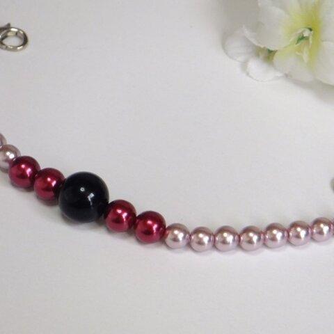 女性羽織紐◆3色の艶めくローズ・レッド・ブラック
