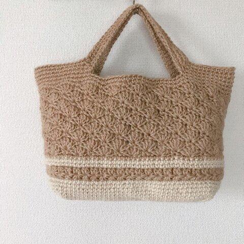 麻紐トートバッグ 松編み模様