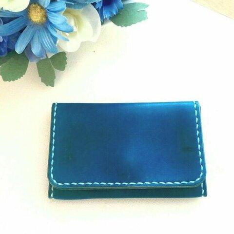 牛革のカードケース(名刺入れ)ブルー