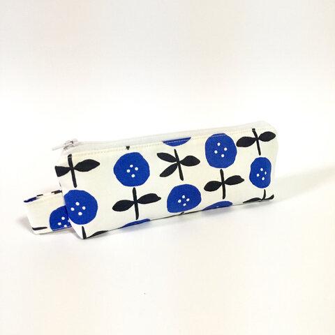 青いお花 ふかふかのペンケース