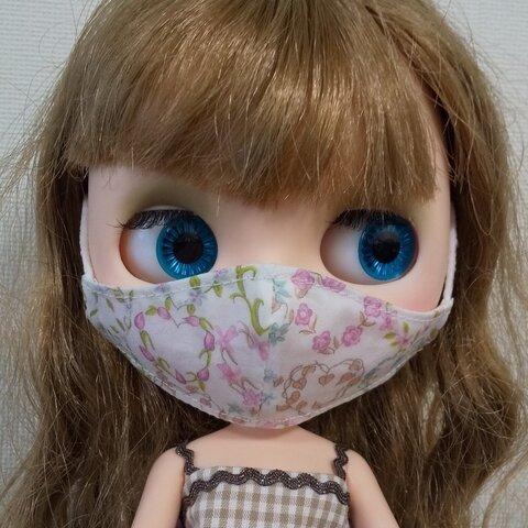 ブライス用 立体マスク リバティ生地 花リース柄