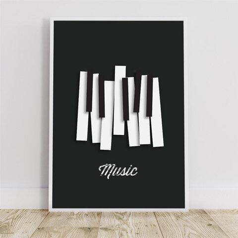 """ピアノ """"music"""" / アートポスター ミニマル インテリア 2L〜 音楽 ミュージック 鍵盤 ジャズ"""