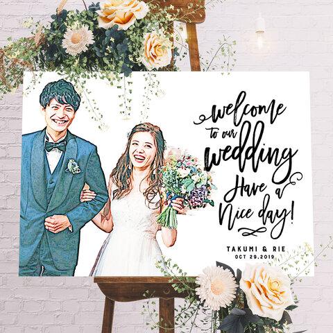 ペイント風  似顔絵 オーダー ウェルカムボード 結婚式 家族 記念日