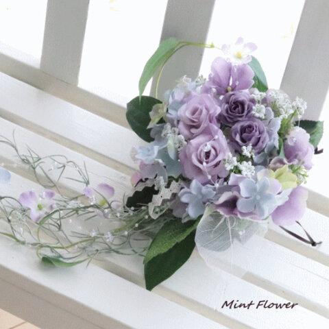 アジサイとバラの壁飾り☆パープルレイン