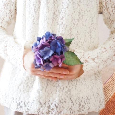 革の紫陽花 一輪ブーケ