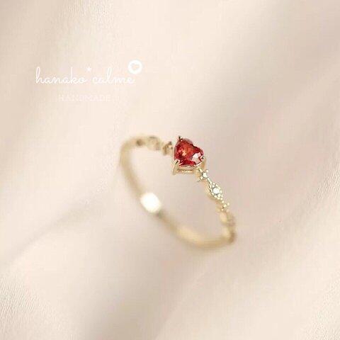 新作 シンプル 高品質 繊細  大人女子 ひと粒 ハート 18k リング 指輪