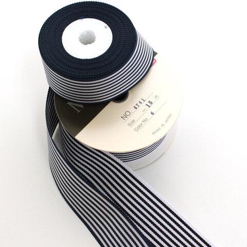 【約35mm幅/5色】MOKUBA 4741-35mm幅ストライプグログランリボン/15m巻 MOKUBAリボン