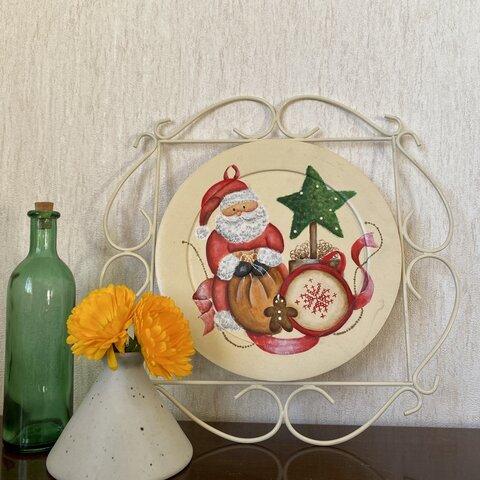 トールペイント:クリスマスのプレート リース サンタクロース