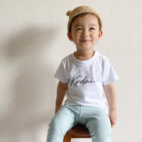 Stylish. 名前入りTシャツ (ホワイト×ブラック) 出産祝い