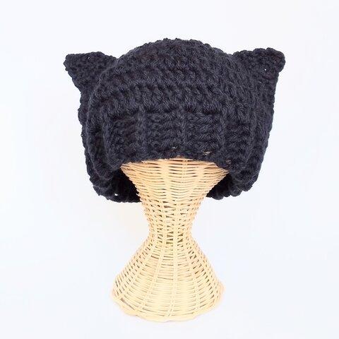 黒猫耳ニット帽 受注製作