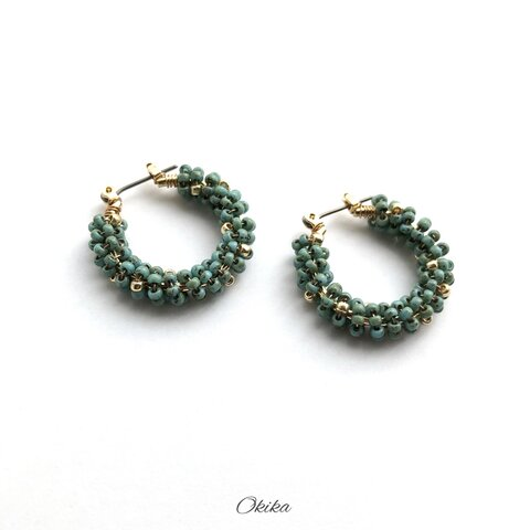 """""""Luxe""""ビーズ フープチタンピアス【Turquoise×gold】"""
