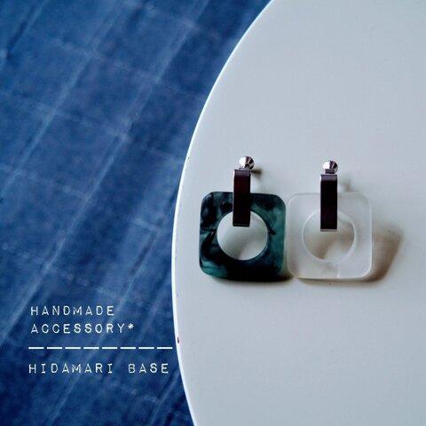 【つやけししかく‥:* / frostl 】matte square × metal の earring* & pierce*