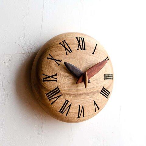 ぷっくりキュートな手作り木製時計 15cm