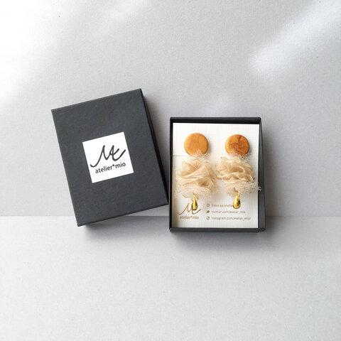 クレイ × シフォンチュール costume jewelry earring -gold-