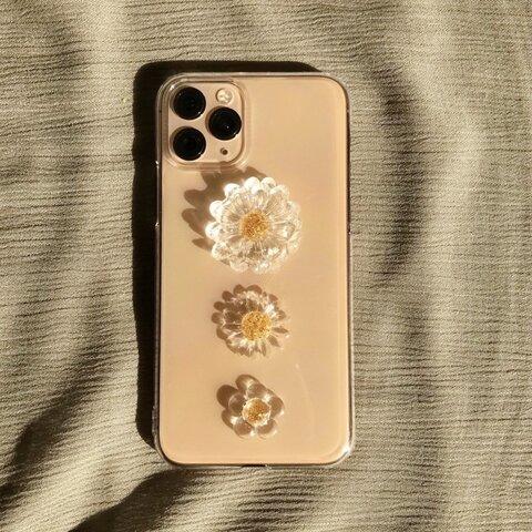 欲張り3種のお花             コスモス ひまわり お花 iPhoneケース スマホケース お花ケース クリア クリアフラワー  クリアケース フラワーケース iPhone全機種対応