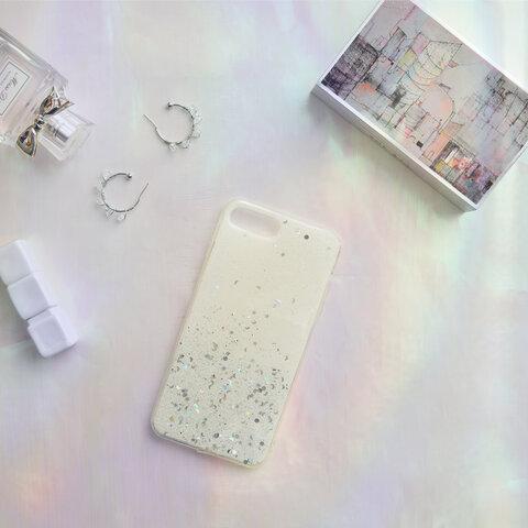 【iPhone SE2/11シリーズ対応】きらきらグラデーションラメ<ホワイト>パステルカラーデザイン(a0261WH)◆スマホケース/iPhoneケース
