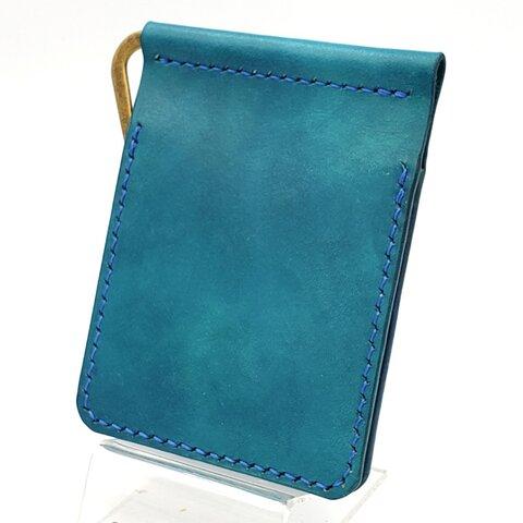 シンプル マネークリップ 手縫い 牛革 ハンドメイド レザー ターコイズブルー