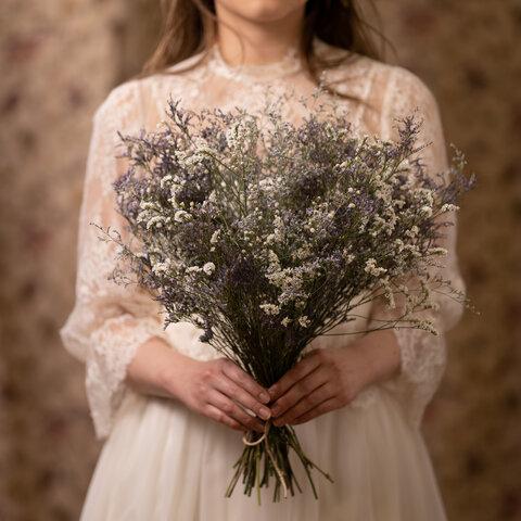 【ドライフラワー】北の魔女のブーケ ブーケ×ブートニア×キャンドルホルダーセット 結婚式 ウエディング フォトウエディング