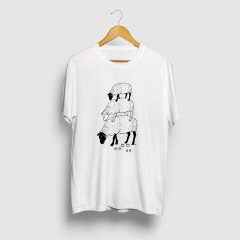 ヒツジ -Summer Fashion- 3段 羊 動物イラストTシャツ