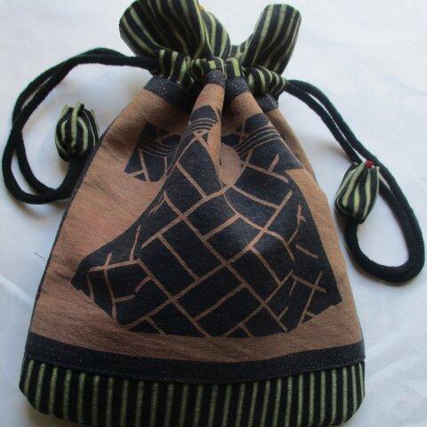 5881 半纏柄と唐桟縞の着物で作った巾着袋 #送料無料