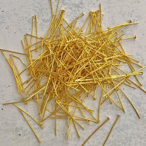 Tピン 大量300本(ゴールド 30mm)ビーズ パーツ アクセサリーパーツ