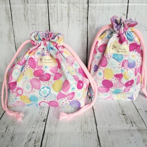 お弁当袋&コップ袋セット・ちょうちょ(青・紫)【入園入学 女の子】