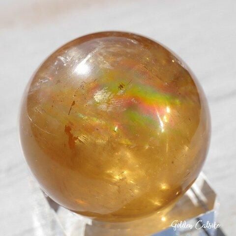 天然石ゴールデンカルサイト(メキシコ産)約86g直径約40mmスフィア 方解石 丸玉つやつや鉱石鉱物テラリウムお守り素材[rgcal-211017-04]